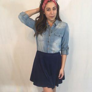 •SALE• Navy Velvet Skater Skirt